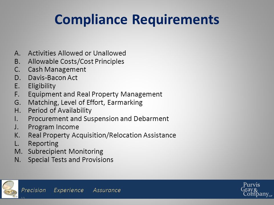 Precision Experience Assurance Compliance Requirements 10 A.Activities Allowed or Unallowed B.Allowable Costs/Cost Principles C.Cash Management D.Davis-Bacon Act E.Eligibility F.Equipment and Real Property Management G.Matching, Level of Effort, Earmarking H.Period of Availability I.Procurement and Suspension and Debarment J.Program Income K.Real Property Acquisition/Relocation Assistance L.Reporting M.Subrecipient Monitoring N.Special Tests and Provisions