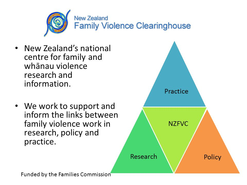 Disseminating information Information provided on family violence statistics, primary prevention, child abuse, IPV, elder abuse, perpetrator programmes and sexual violence.
