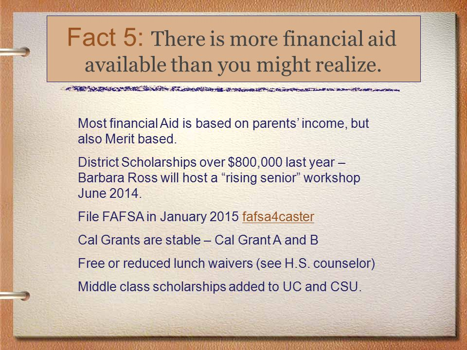 Fact 4: College Essays Can Be Pivotal Fact 5: There is more financial aid available than you might realize.