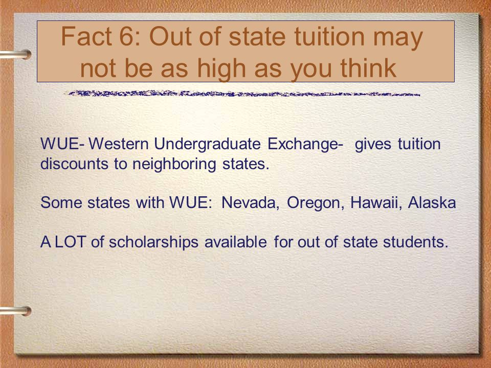 Fact 6: Out of state tuition may not be as high as you think WUE- Western Undergraduate Exchange- gives tuition discounts to neighboring states.