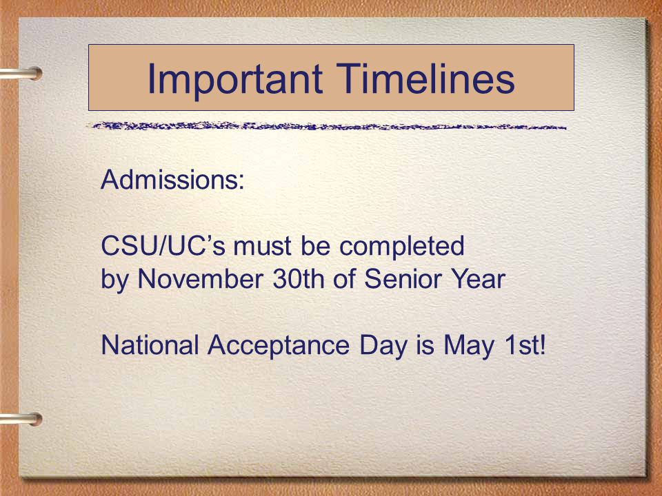 Important Timelines Admissions: CSU/UC's must be completed by November 30th of Senior Year National Acceptance Day is May 1st!