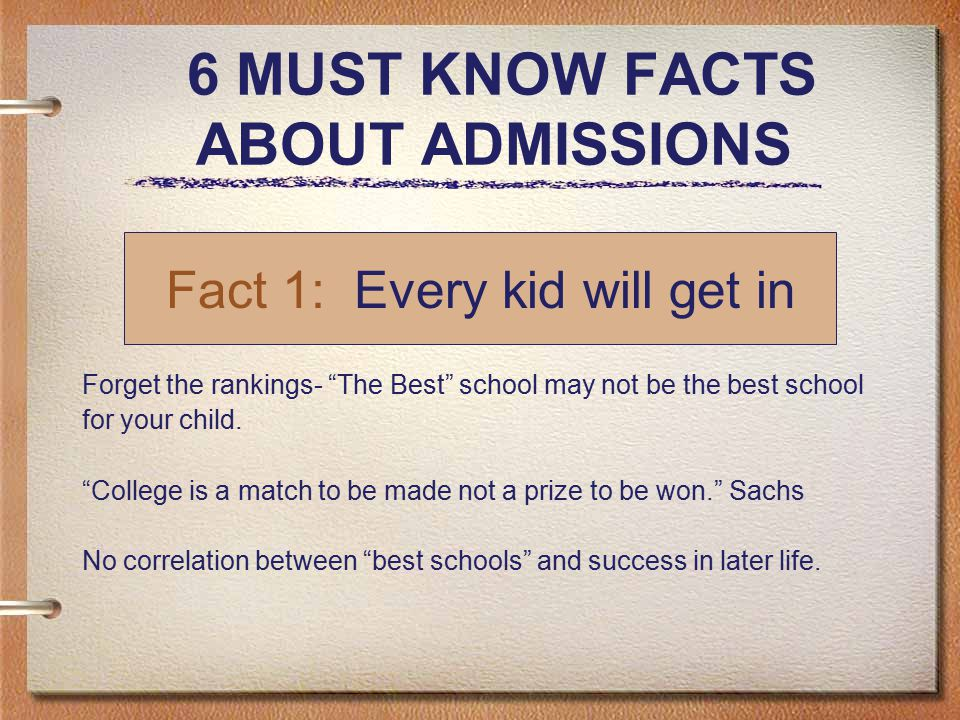 6 MUST KNOW FACTS ABOUT ADMISSIONS Forget the rankings- The Best school may not be the best school for your child.