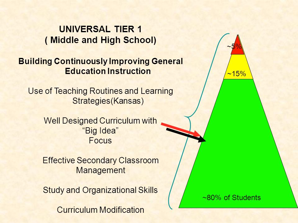 UNIVERSAL TIER 1 ( Middle and High School) Building Continuously Improving General Education Instruction Use of Teaching Routines and Learning Strateg