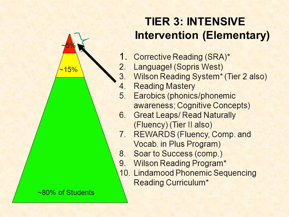 TIER 3: INTENSIVE Intervention (Elementary) 1. Corrective Reading (SRA)* 2.Language! (Sopris West) 3.Wilson Reading System* (Tier 2 also) 4.Reading Ma