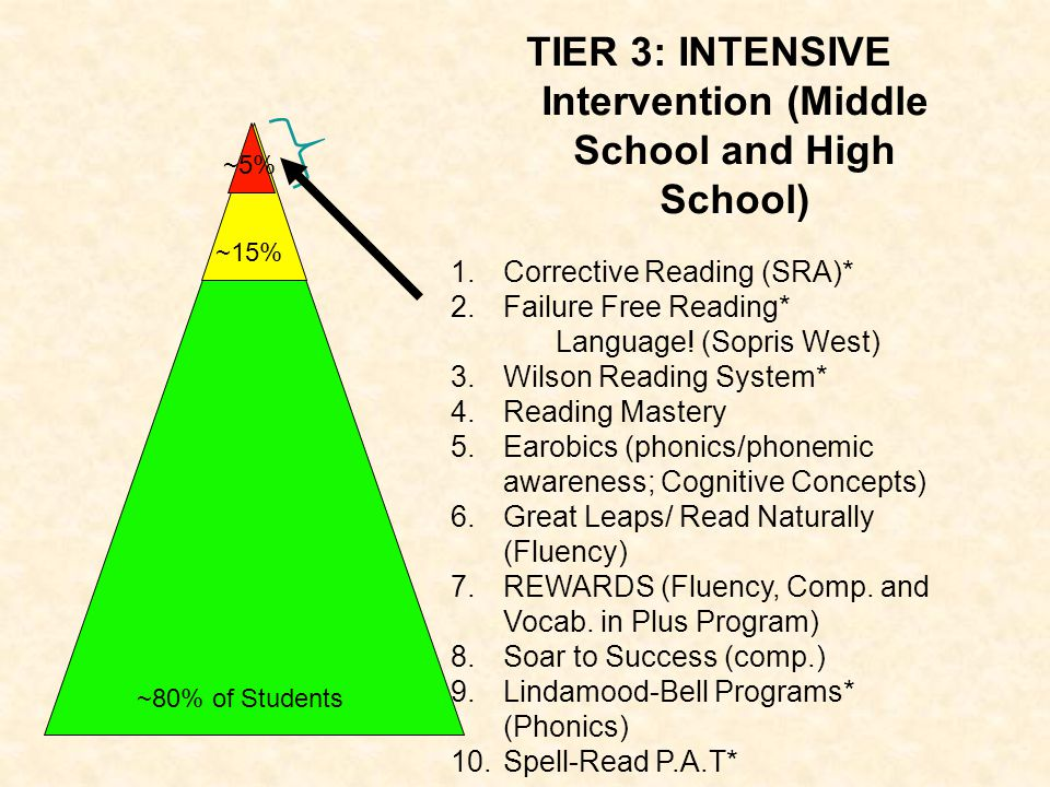 TIER 3: INTENSIVE Intervention (Middle School and High School) 1.Corrective Reading (SRA)* 2.Failure Free Reading* Language! (Sopris West) 3.Wilson Re