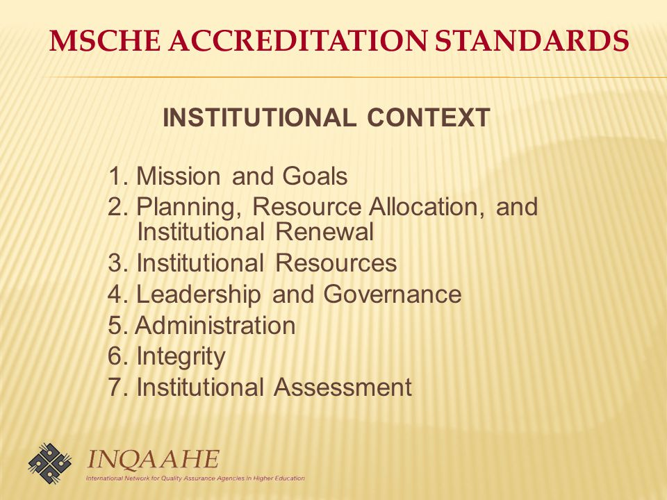 MSCHE ACCREDITATION STANDARDS INSTITUTIONAL CONTEXT 1.
