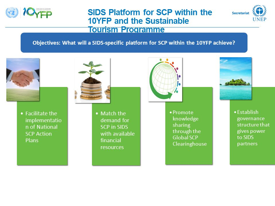 SIDS Platform for SCP within the 10YFP and the Sustainable Tourism Programme Objectives: What will a SIDS-specific platform for SCP within the 10YFP a
