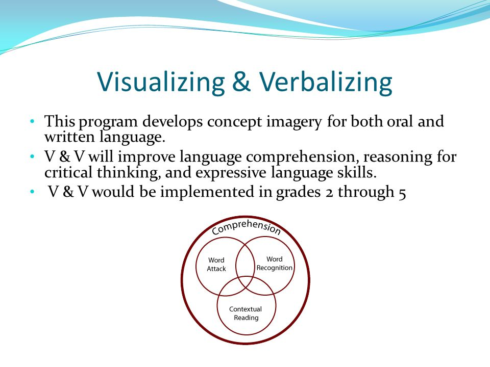 Visualizing & Verbalizing This program develops concept imagery for both oral and written language.