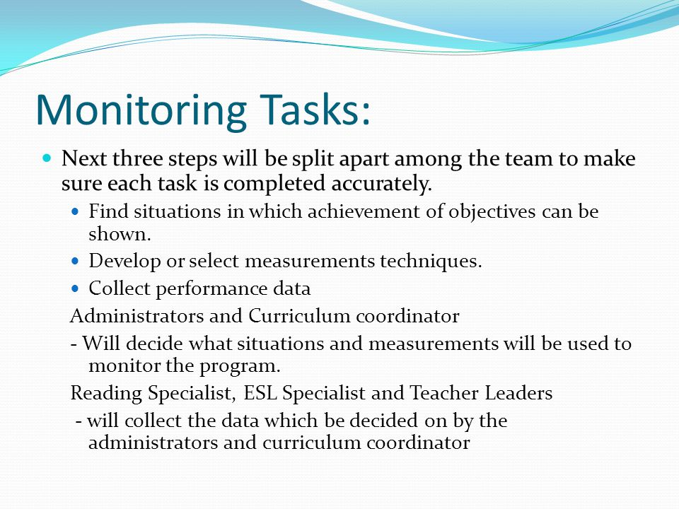 Monitoring Tasks: Next three steps will be split apart among the team to make sure each task is completed accurately.