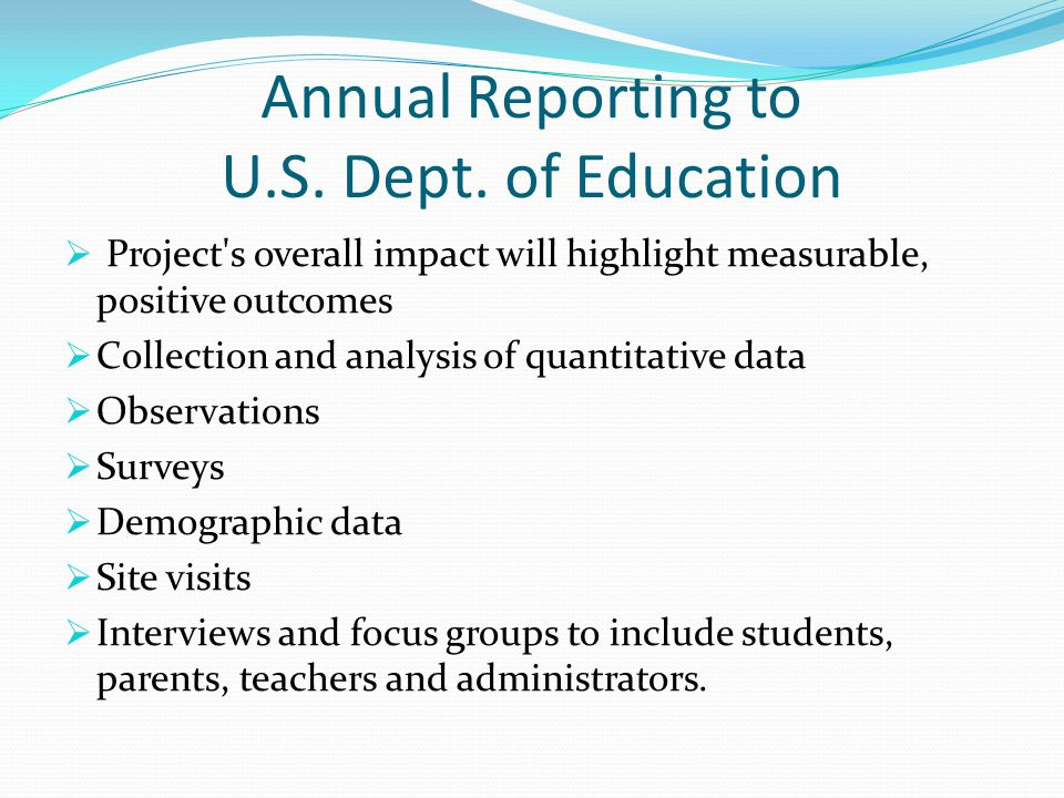 Annual Reporting to U.S. Dept.