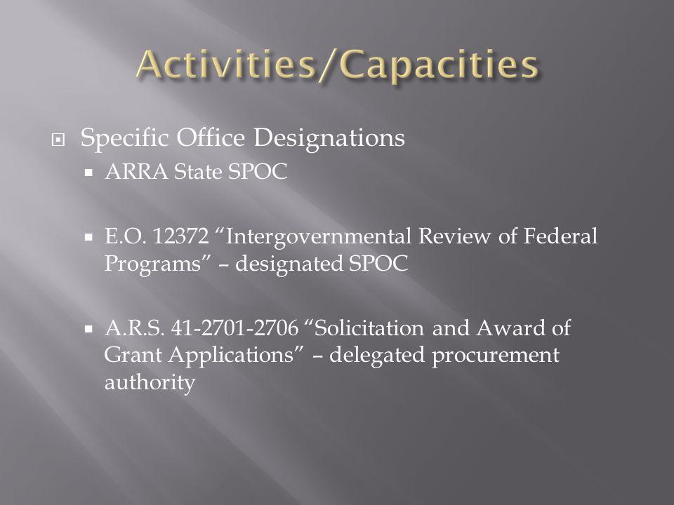  Specific Office Designations  ARRA State SPOC  E.O.
