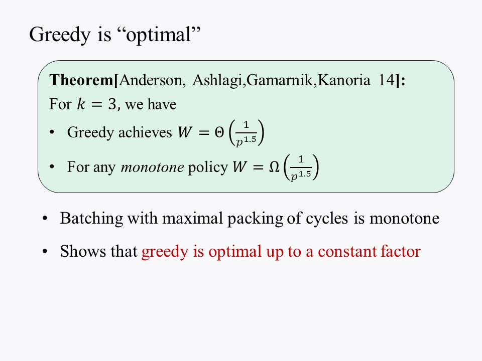 Batching with maximal packing of cycles is monotone Shows that greedy is optimal up to a constant factor Greedy is optimal
