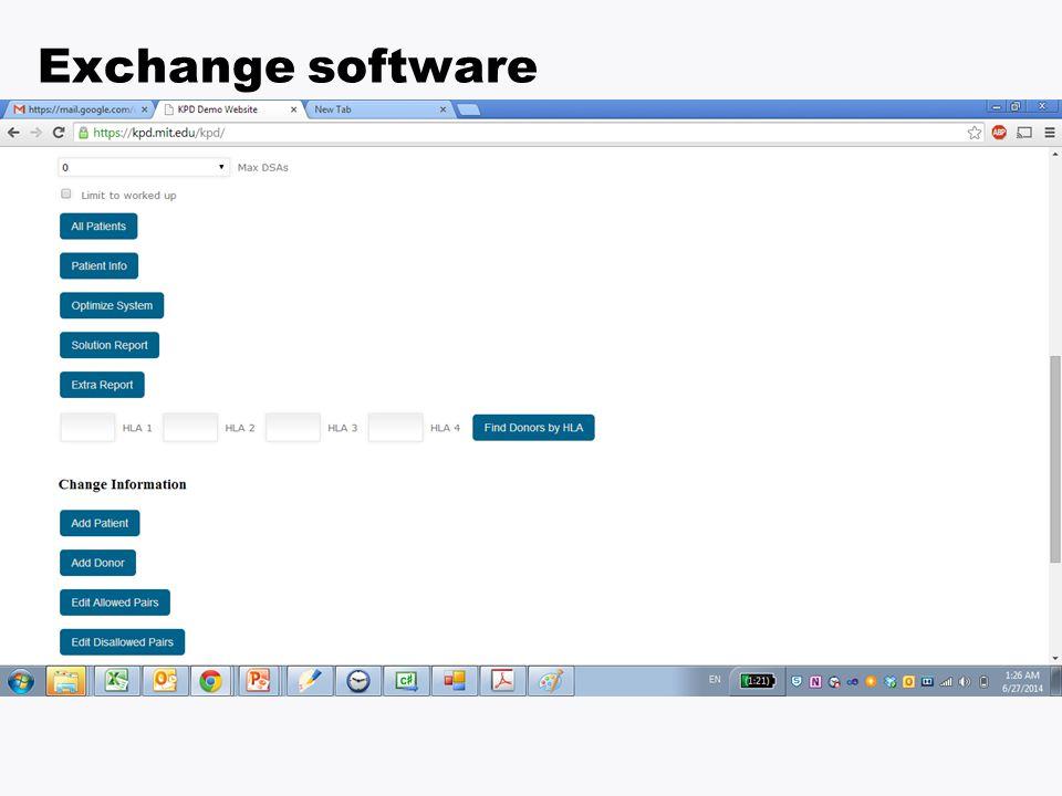 Software we developed Exchange software