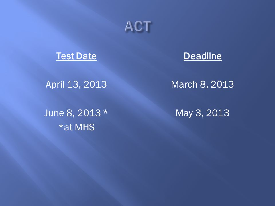 Test Date April 13, 2013 June 8, 2013 * *at MHS Deadline March 8, 2013 May 3, 2013
