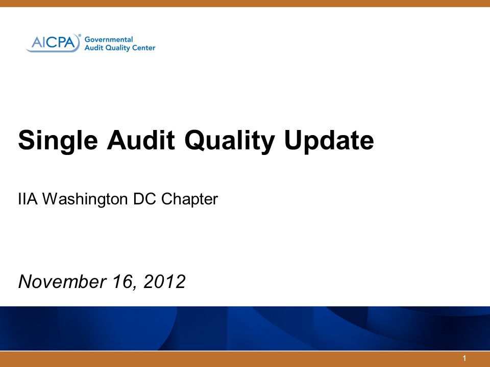 1 Single Audit Quality Update IIA Washington DC Chapter November 16, 2012