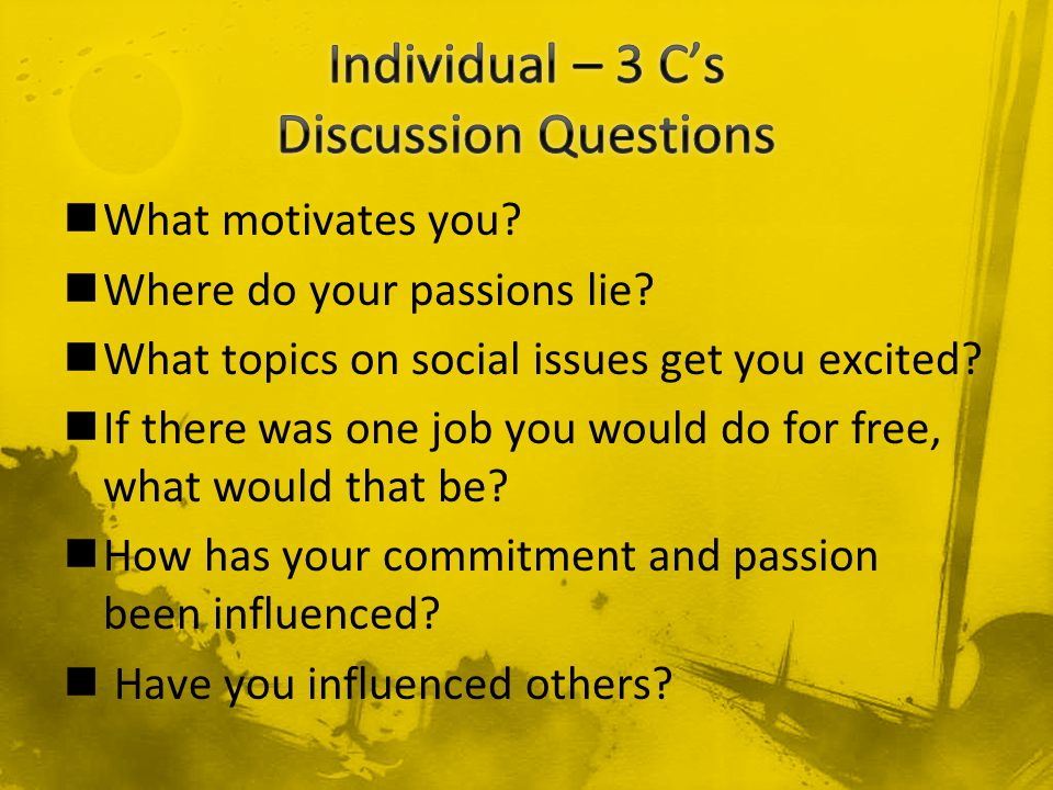 What motivates you. Where do your passions lie. What topics on social issues get you excited.