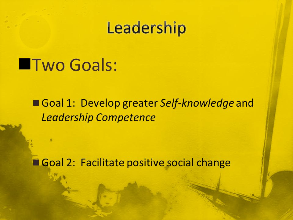 Two Goals: Goal 1: Develop greater Self-knowledge and Leadership Competence Goal 2: Facilitate positive social change