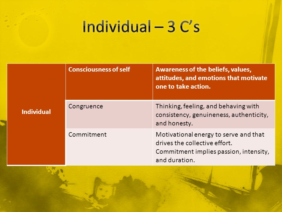 Individual Consciousness of selfAwareness of the beliefs, values, attitudes, and emotions that motivate one to take action.
