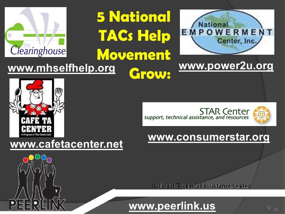 12 www.mhselfhelp.org www.cafetacenter.net www.peerlink.us www.consumerstar.org www.power2u.org 5 National TACs Help Movement Grow: