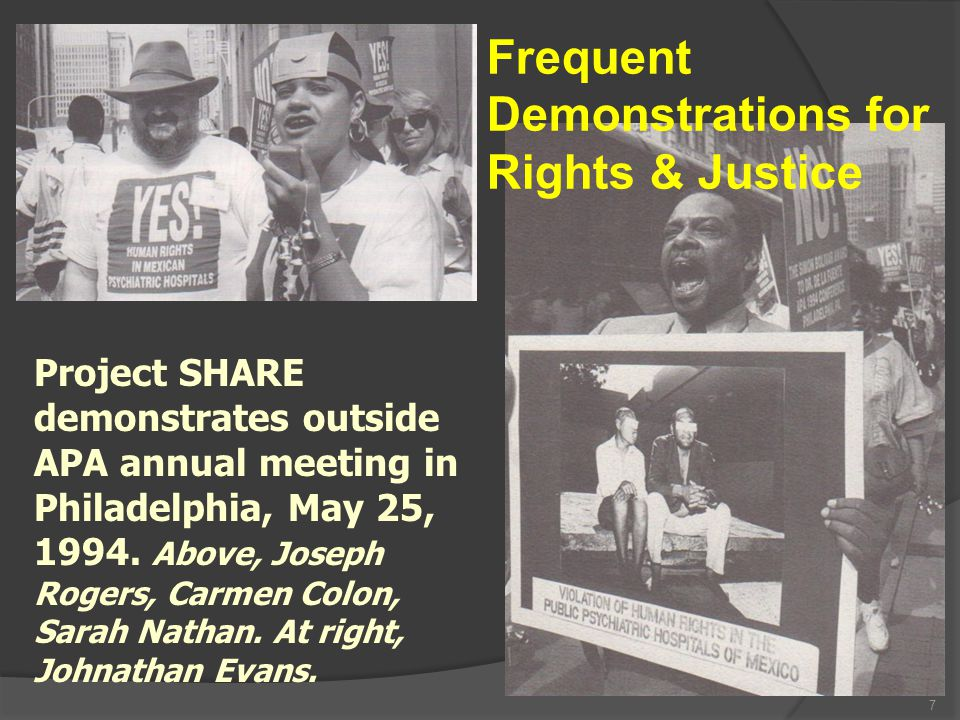 7 Project SHARE demonstrates outside APA annual meeting in Philadelphia, May 25, 1994.