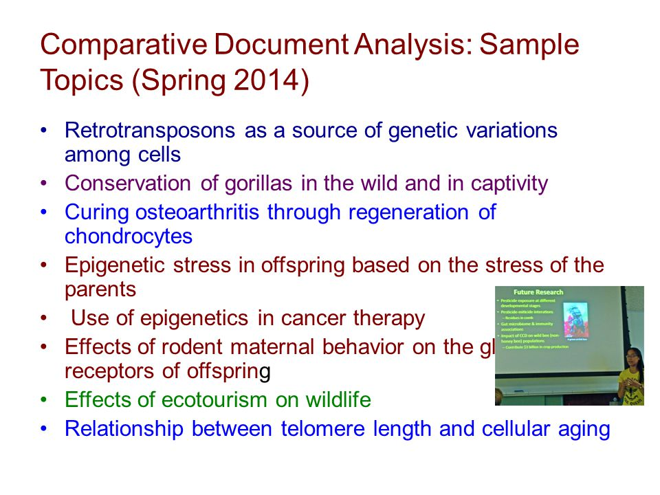 Comparative Document Analysis: Sample Topics (Spring 2014) Retrotransposons as a source of genetic variations among cells Conservation of gorillas in the wild and in captivity Curing osteoarthritis through regeneration of chondrocytes Epigenetic stress in offspring based on the stress of the parents Use of epigenetics in cancer therapy Effects of rodent maternal behavior on the glucocorticoid receptors of offspring Effects of ecotourism on wildlife Relationship between telomere length and cellular aging