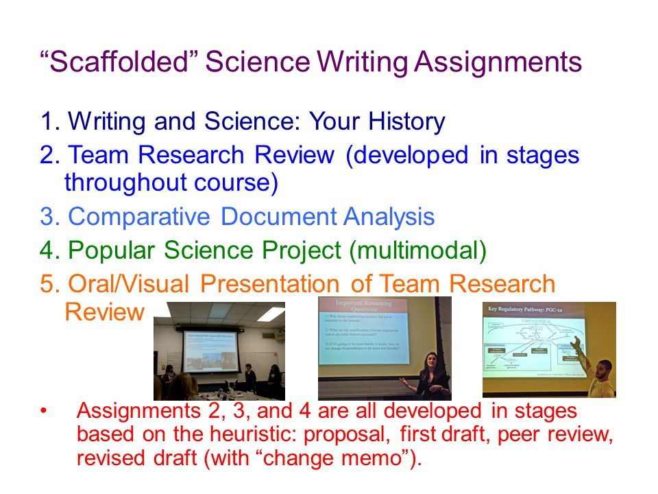 Scaffolded Science Writing Assignments 1. Writing and Science: Your History 2.