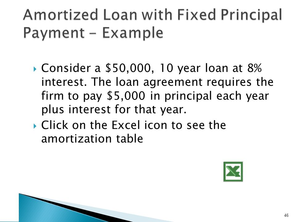  Consider a $50,000, 10 year loan at 8% interest.