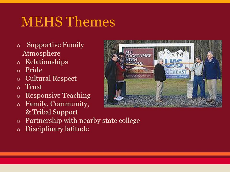 MEHS Themes o Supportive Family Atmosphere o Relationships o Pride o Cultural Respect o Trust o Responsive Teaching o Family, Community, & Tribal Supp