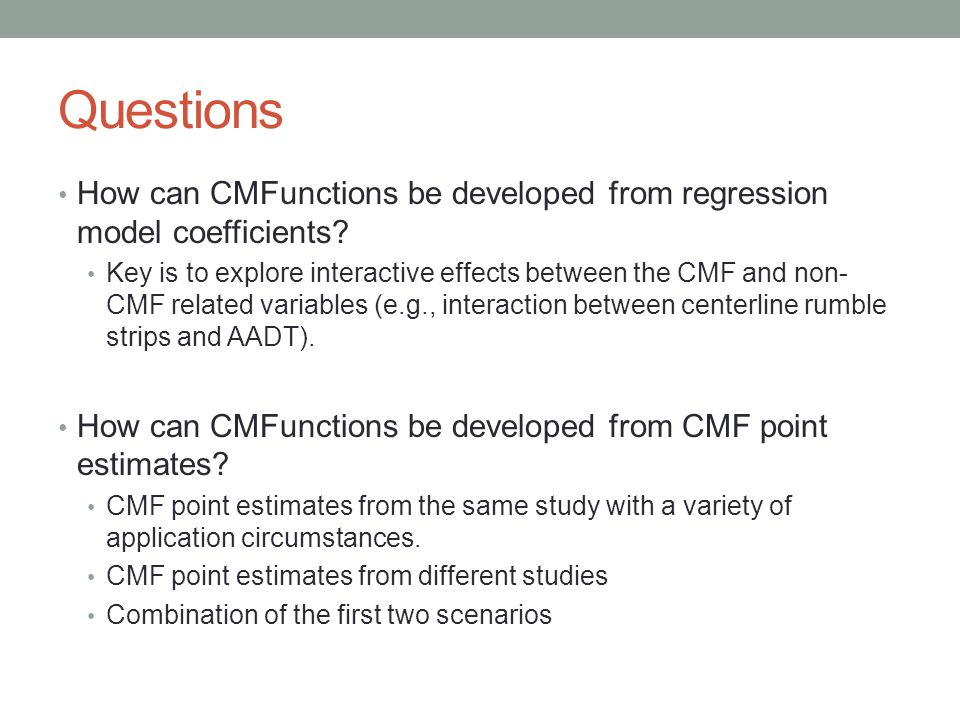 Questions How can CMFunctions be developed from regression model coefficients.