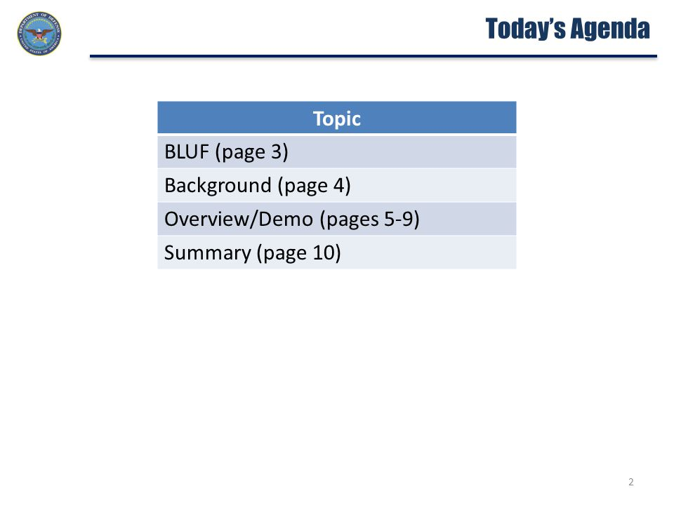Today's Agenda Topic BLUF (page 3) Background (page 4) Overview/Demo (pages 5-9) Summary (page 10) 2