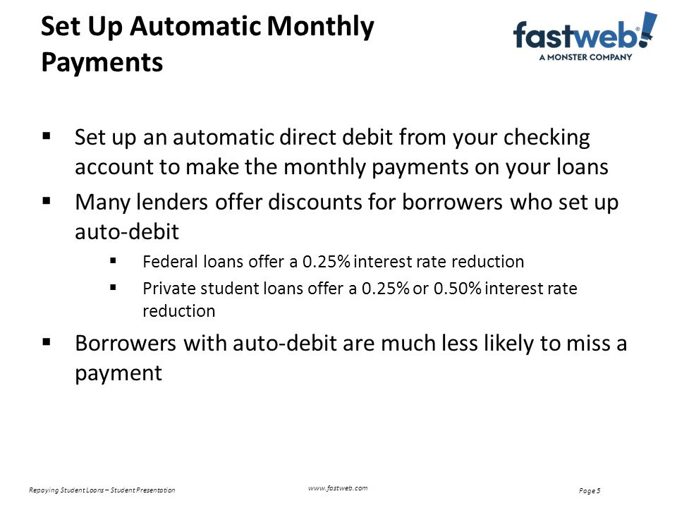 Repaying Student Loans – Student Presentation Page 5 Set Up Automatic Monthly Payments www.fastweb.com  Set up an automatic direct debit from your checking account to make the monthly payments on your loans  Many lenders offer discounts for borrowers who set up auto-debit  Federal loans offer a 0.25% interest rate reduction  Private student loans offer a 0.25% or 0.50% interest rate reduction  Borrowers with auto-debit are much less likely to miss a payment