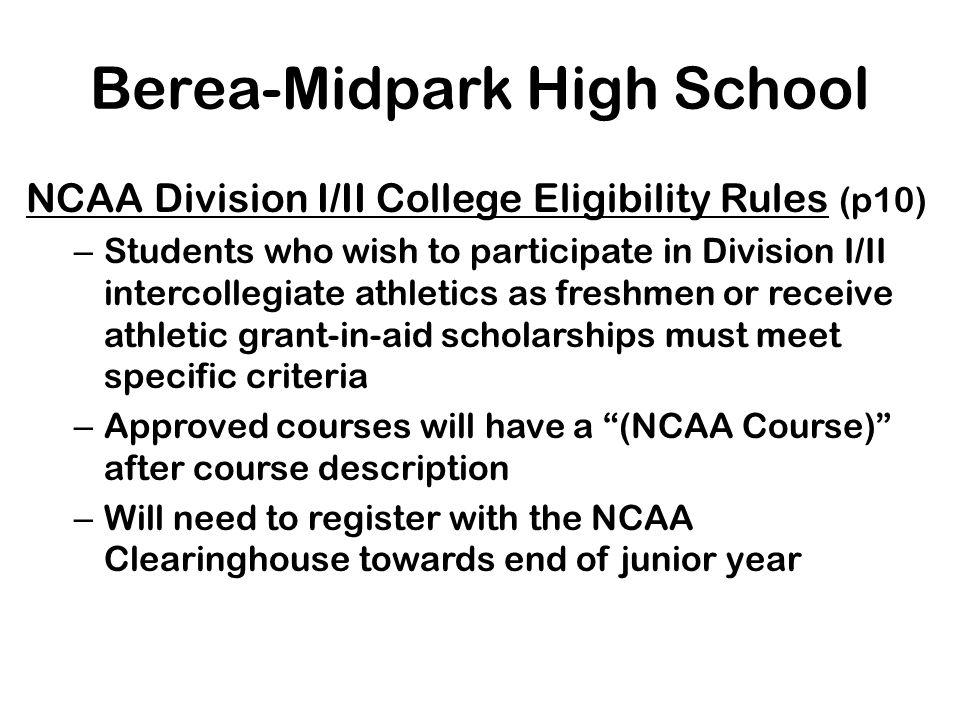 Berea-Midpark High School Honors Diploma (p.