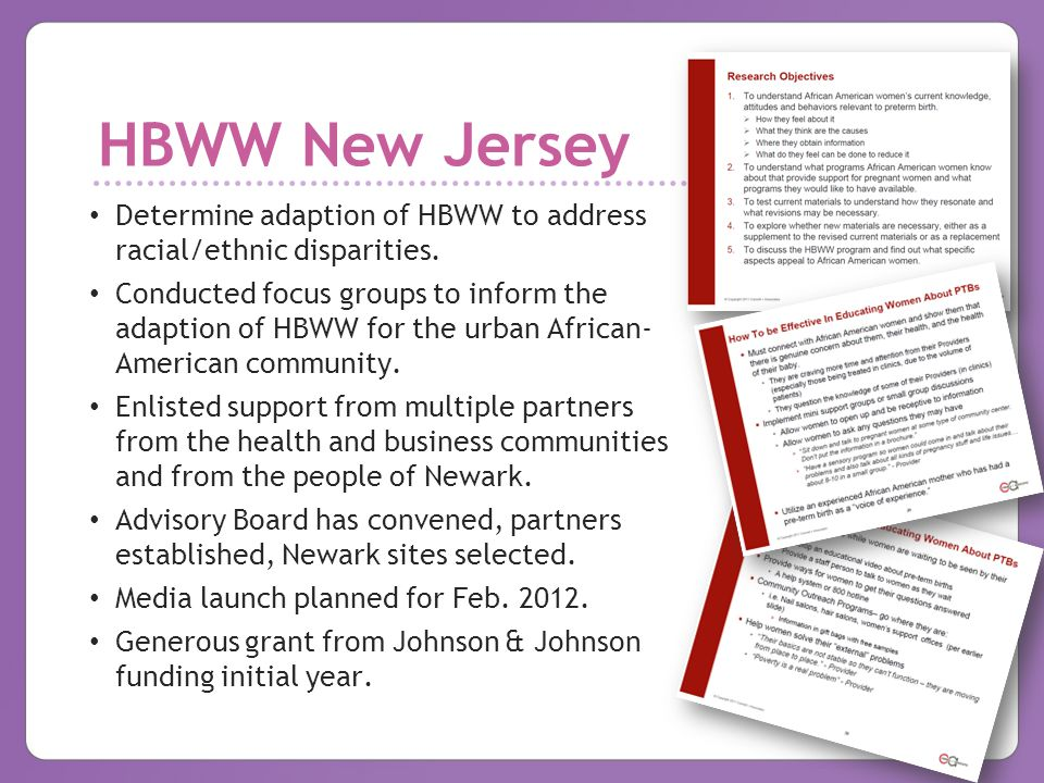 HBWW New Jersey Determine adaption of HBWW to address racial/ethnic disparities.