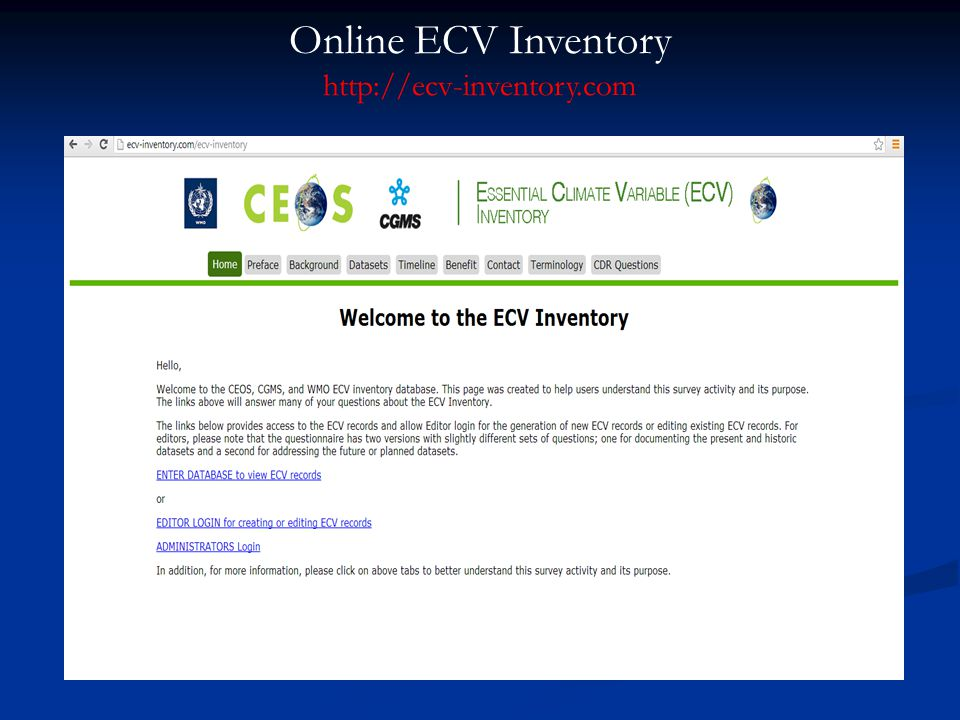 Listing of Individual ECV Records