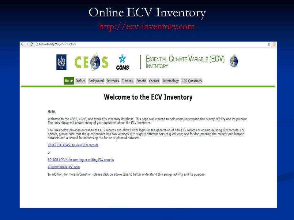 Online ECV Inventory http://ecv-inventory.com