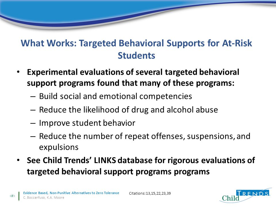 10 Evidence Based, Non-Punitive Alternatives to Zero Tolerance C.