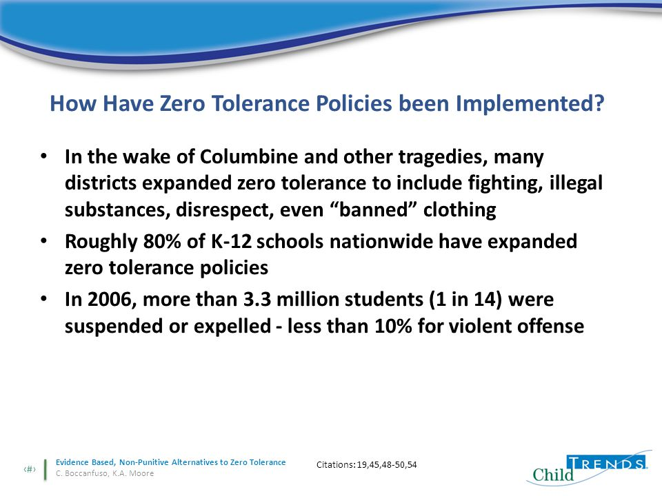 2 Evidence Based, Non-Punitive Alternatives to Zero Tolerance C.