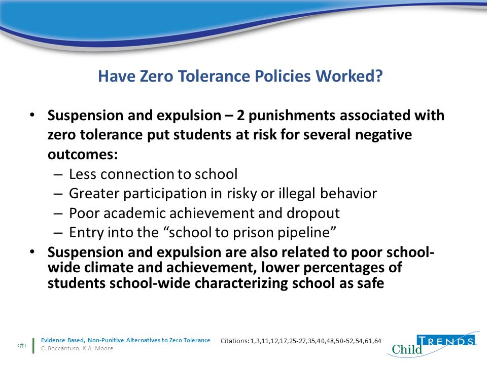 4 Evidence Based, Non-Punitive Alternatives to Zero Tolerance C.