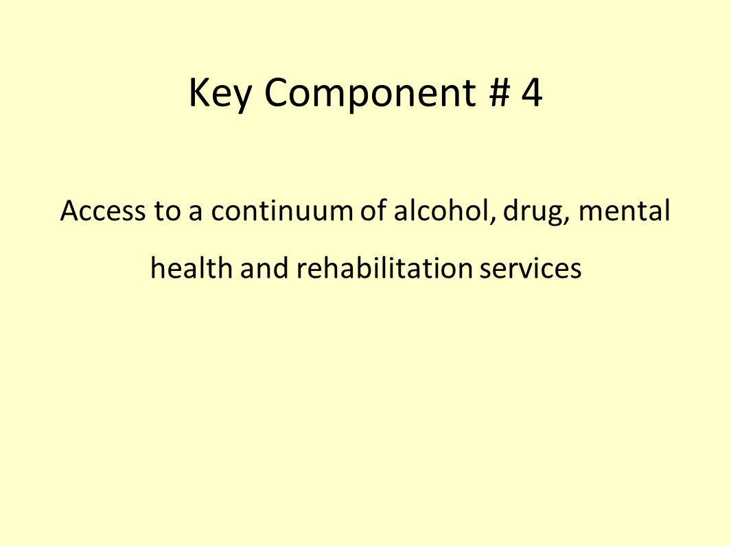 Key Component # 4 Access to a continuum of alcohol, drug, mental health and rehabilitation services