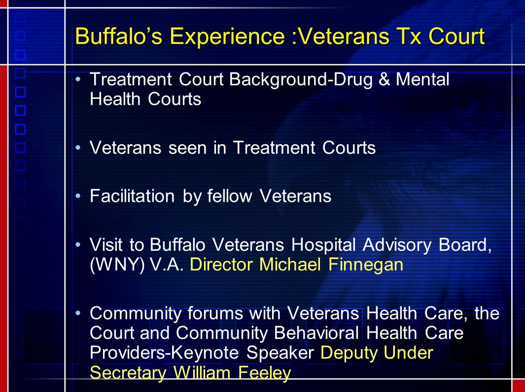 Buffalo's Experience :Veterans Tx Court Treatment Court Background-Drug & Mental Health Courts Veterans seen in Treatment Courts Facilitation by fellow Veterans Visit to Buffalo Veterans Hospital Advisory Board, (WNY) V.A.