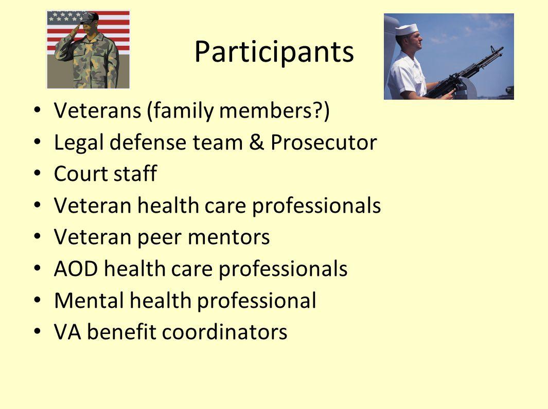 Participants Veterans (family members?) Legal defense team & Prosecutor Court staff Veteran health care professionals Veteran peer mentors AOD health care professionals Mental health professional VA benefit coordinators