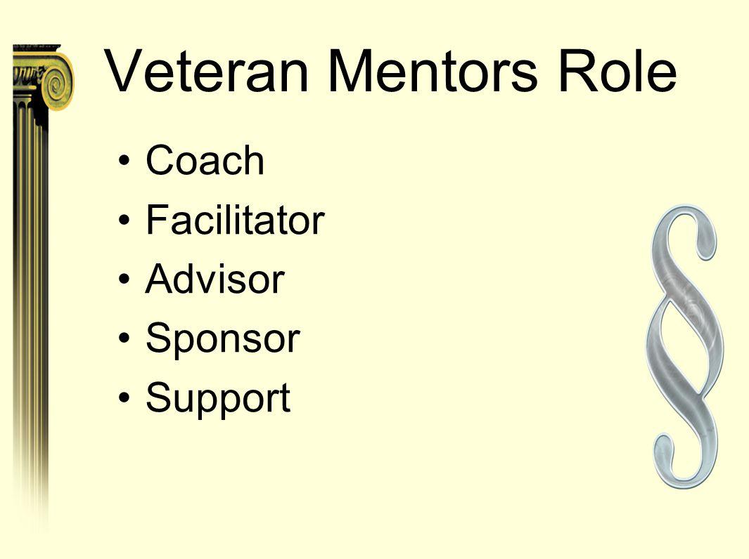 Veteran Mentors Role Coach Facilitator Advisor Sponsor Support