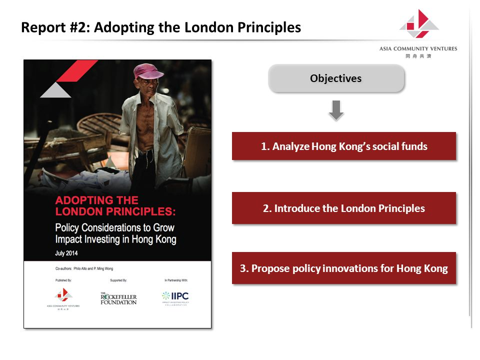 Report #2: Adopting the London Principles 1. Analyze Hong Kong's social funds 2. Introduce the London Principles 3. Propose policy innovations for Hon