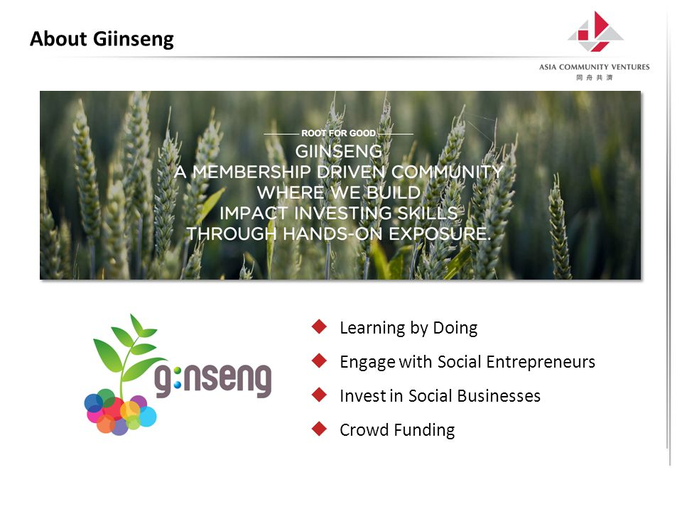 About Giinseng  Learning by Doing  Engage with Social Entrepreneurs  Invest in Social Businesses  Crowd Funding