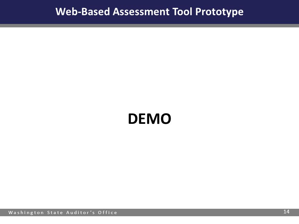 Washington State Auditor's Office DEMO 14 Web-Based Assessment Tool Prototype