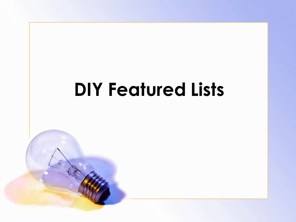 DIY Featured Lists