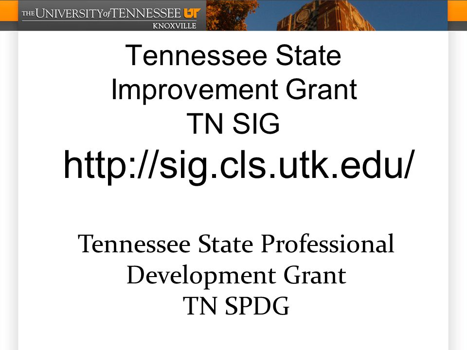 Tennessee State Improvement Grant TN SIG http://sig.cls.utk.edu/ Tennessee State Professional Development Grant TN SPDG