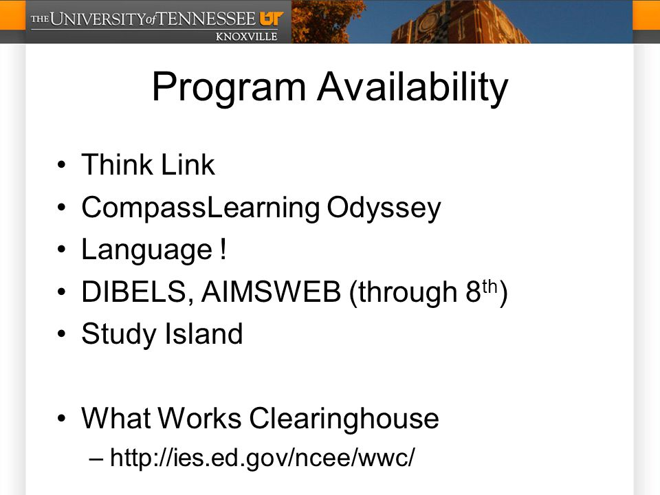 Program Availability Think Link CompassLearning Odyssey Language .