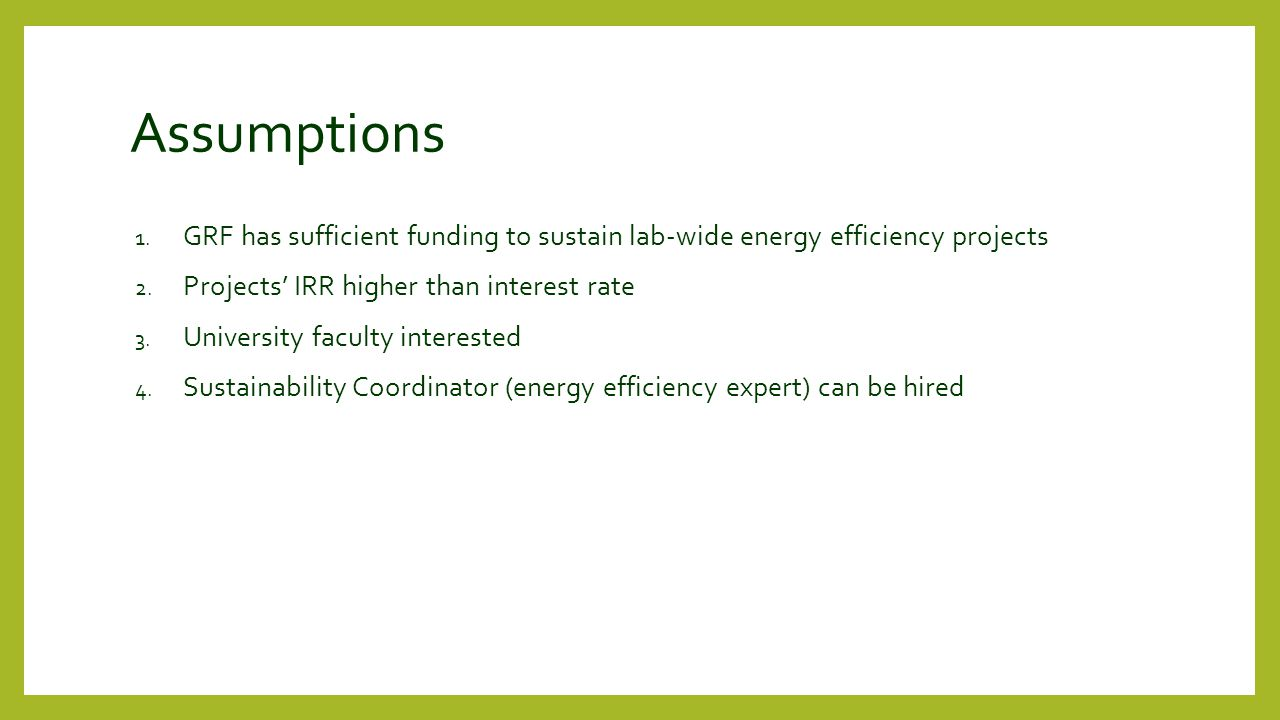 Assumptions 1. GRF has sufficient funding to sustain lab-wide energy efficiency projects 2.