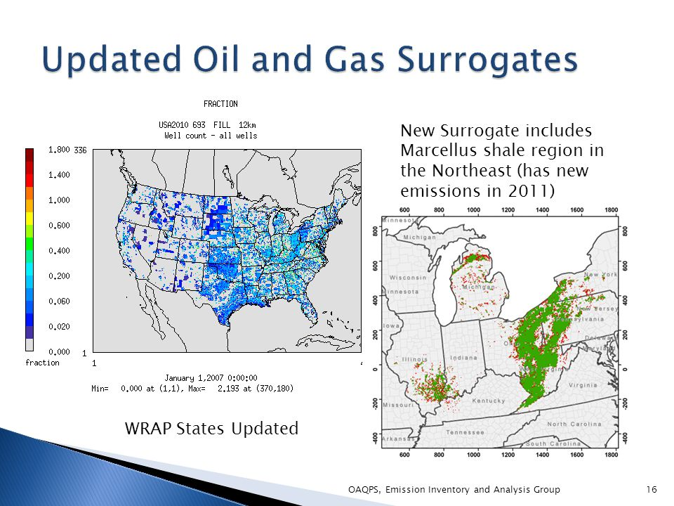 OAQPS, Emission Inventory and Analysis Group16 WRAP States Updated New Surrogate includes Marcellus shale region in the Northeast (has new emissions in 2011)
